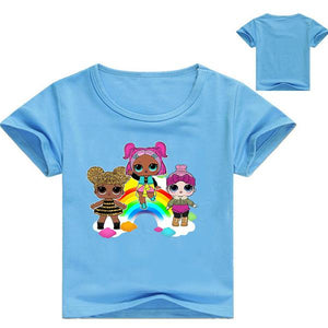 LOL Surprise! Girls Colorful Cartoon Print T-shirt