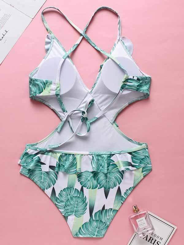 Lace Up Printed One-piece Swimwear