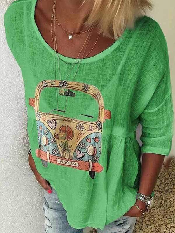 wiccous.com Plus Size Tops Green / S Round Neck Car Print T-Shirt