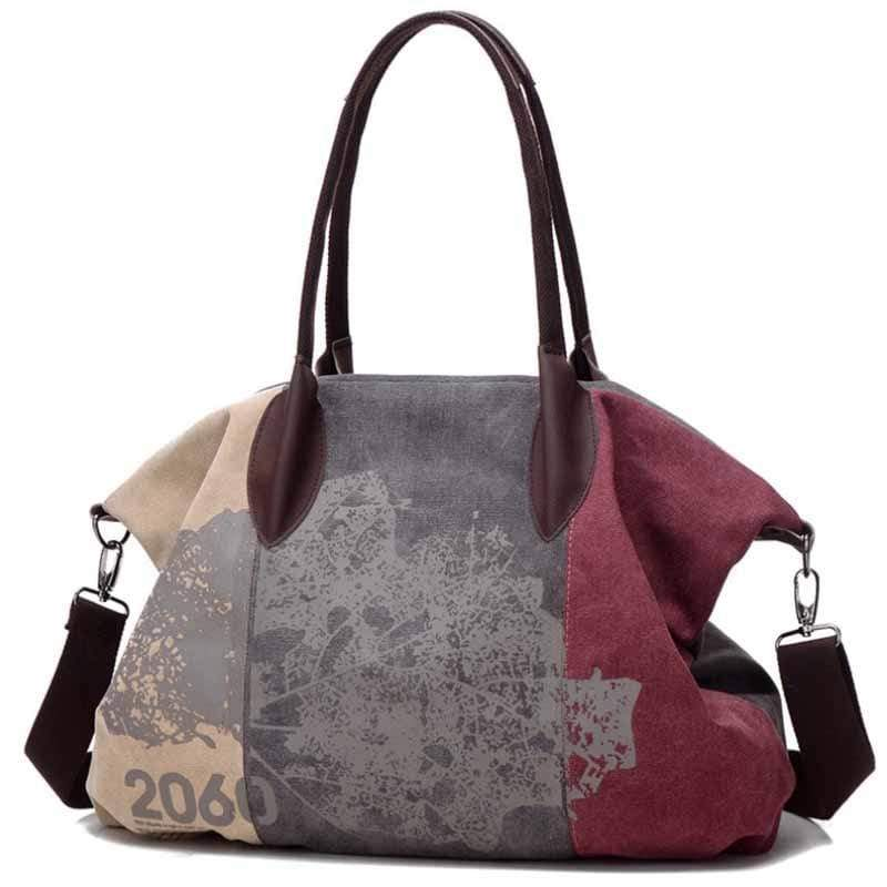 wiccous.com Bags Purple Folk Style Print Canvas Bag