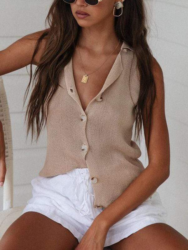 wiccous.com Tanks Apricot / S Knitted Sleeveless Button Vest