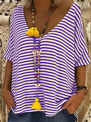 wiccous.com Plus Size Tops Purple / L Plus size striped t-shirt