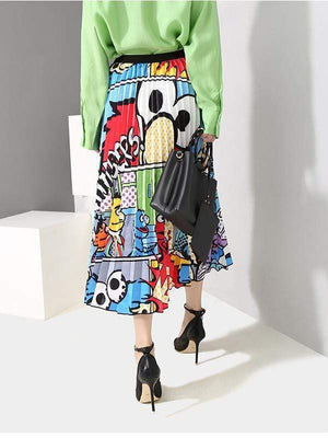 Cartoon Printed Pleated Skirt