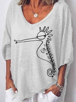 wiccous.com Plus Size Tops White / S Hippocampus Printed Loose T-Shirt