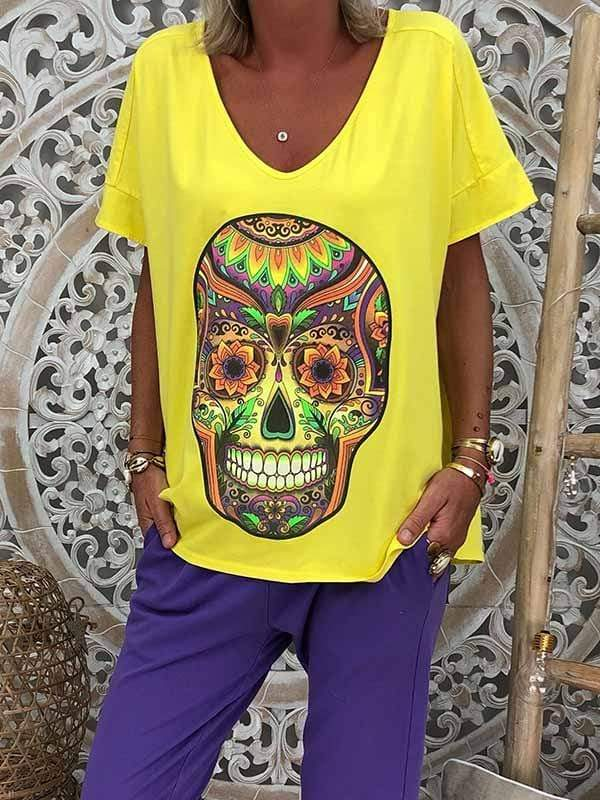 wiccous.com Plus Size Tops Yellow / S Skull print t-shirt