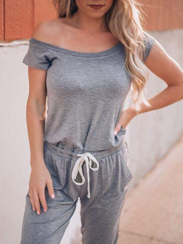 wiccous.com Jumpsuits light grey / S Cold Shoulder Jumpisuit With Pocketed