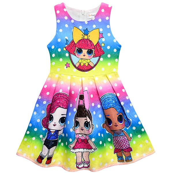 LOL Surprise! Adorable Girls Rainbow Color Sleeveless Dress