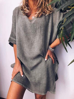 wiccous.com Plus Size Dress Grey / L Plus Size Cotton Linen Solid Color Dress