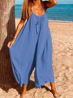 wiccous.com Plus Size Bottoms Blue / L Strap cotton linen jumpsuit