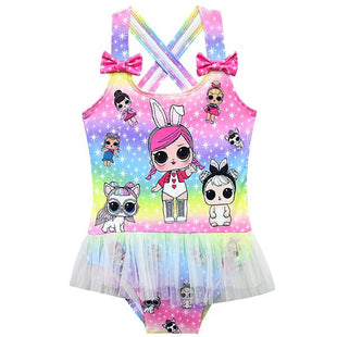 LOL Surprise! Girls Fancy Rainbow Color One-piece Swimwear