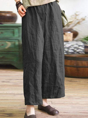 wiccous.com Plus Size Bottoms Dark Gray / L Plus Size Cotton Linen Loose Pants