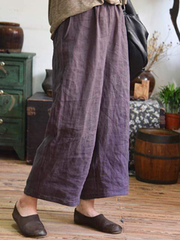 wiccous.com Plus Size Bottoms Purple / L Plus Size Cotton Linen Loose Pants