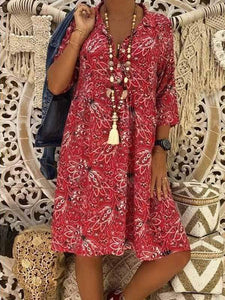 wiccous.com Plus Size Dress Red / L Plus Size Casual Print Dress