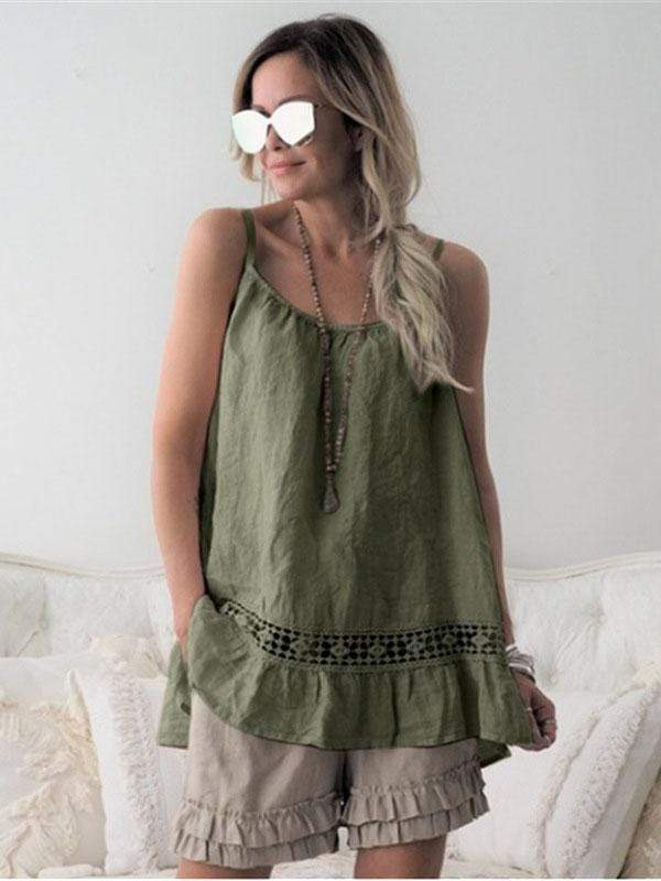 wiccous.com Plus Size Tops Green / L Plus size ruffled camisole