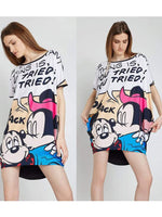 Mickey Printing Batwing Sleeve Dress