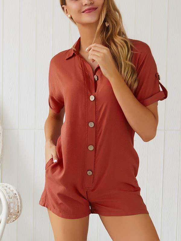 Button Up Casual Romper With Pocket