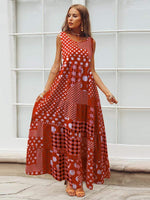 Fashion Sleeveless Printing Maxi Dresses