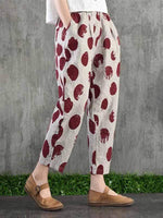 wiccous.com Plus Size Bottoms Red / L Plus size printed casual pants