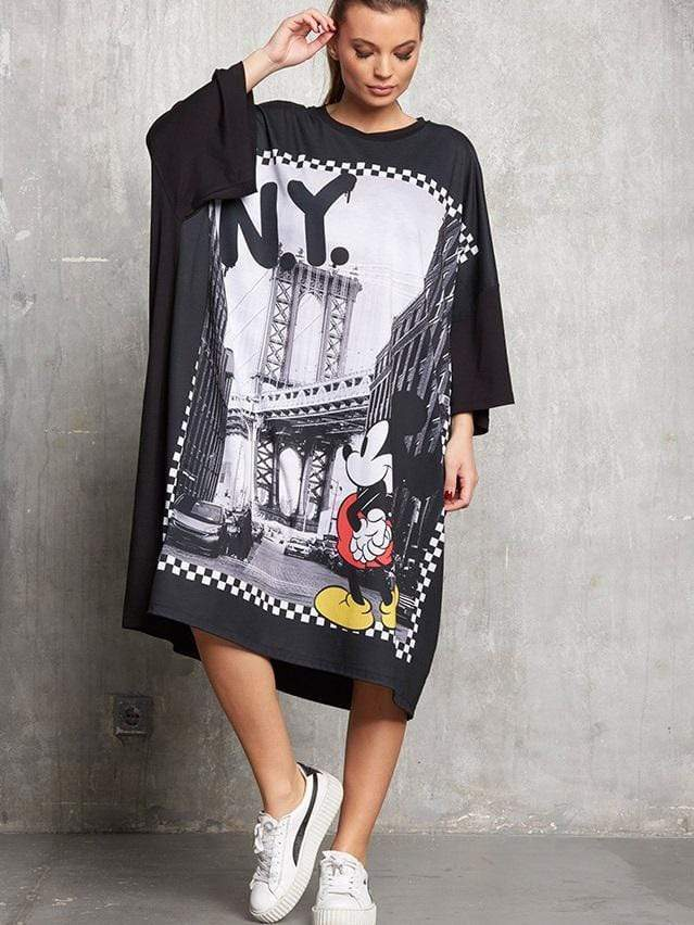 N.Y. Mickey Printing Loose Dress