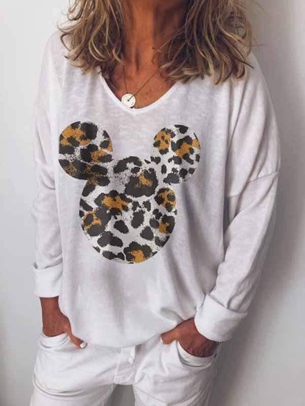 wiccous.com Plus Size Tops White / S Leopard Mickey Print Long Sleeve Top