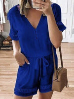 wiccous.com Plus Size Bottoms Blue / L Plus size lace stitching jumpsuit