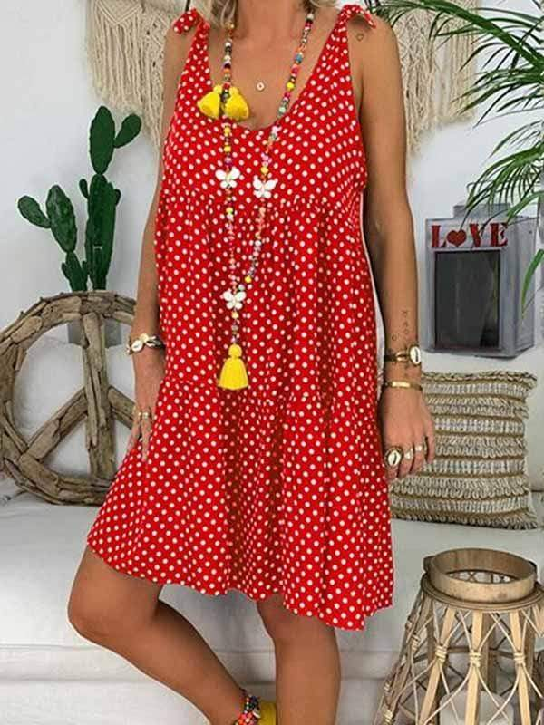 wiccous.com Plus Size Dress Red / S Dot Print Sling Dress