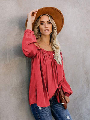 wiccous.com Blouses Red / S Cold Shoulder Strap Solid Color Blouses
