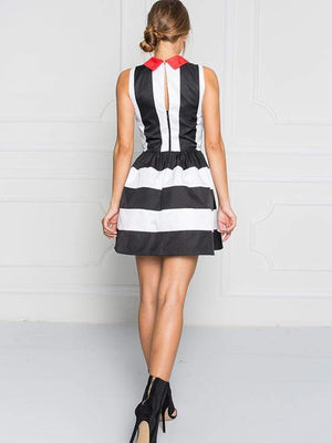 Mickey And Minnie Stripe Sleeveless Dress