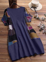 wiccous.com Plus Size Dress Blue / L Plus size cotton linen stitching dress