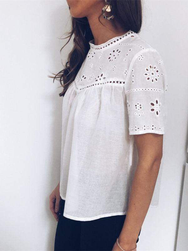 wiccous.com Blouses White / S Free Shipping Hollow Out Blouses