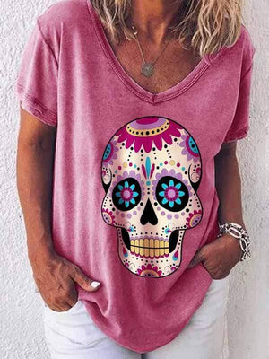 wiccous.com Plus Size Tops Red / S Skull Print T-Shirt