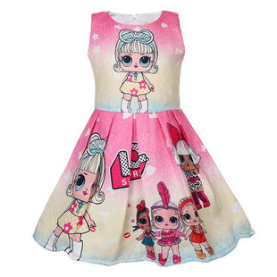 Girls Gradient L.O.L Surprise! Cartoon Pattern Print Sundress