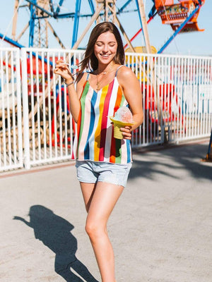 wiccous.com Tanks Multicolor / S Gorgeous Rainbow Striped Tank