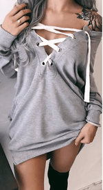 V-neck straps mid-length women's sweatshirt