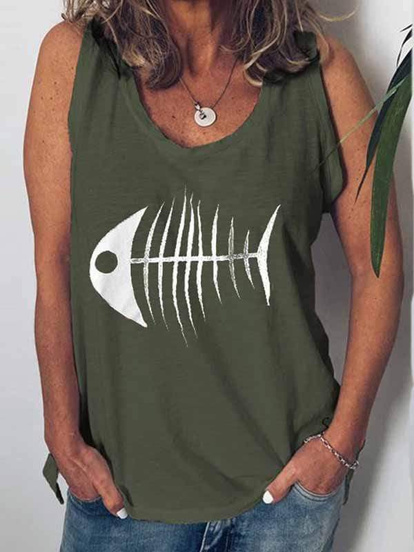 wiccous.com Plus Size Tops Army Green / S Fish Head Print Vest