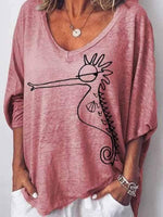 wiccous.com Plus Size Tops Pink / S Hippocampus Printed Loose T-Shirt
