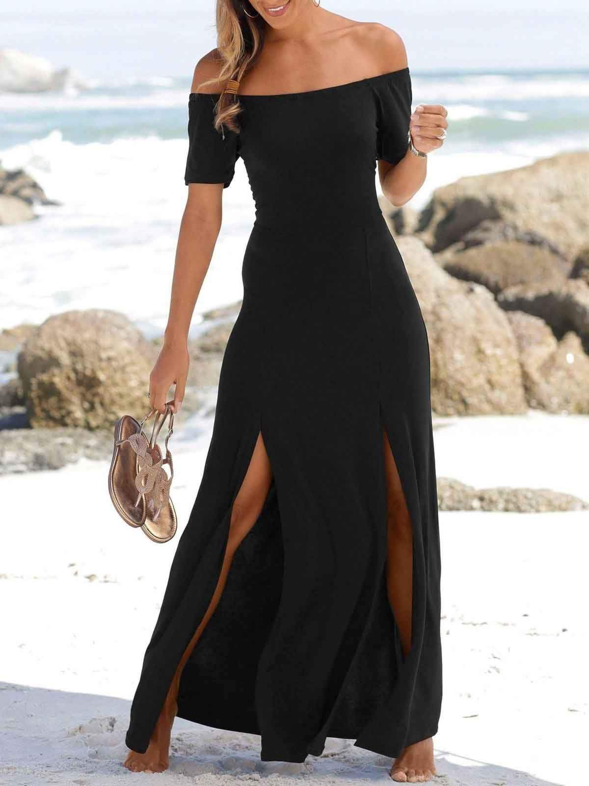 Off-The-Shoulder Slit Dress