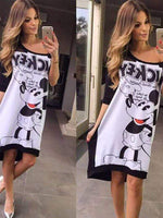 Mickey Printing Half Sleeve  Dress