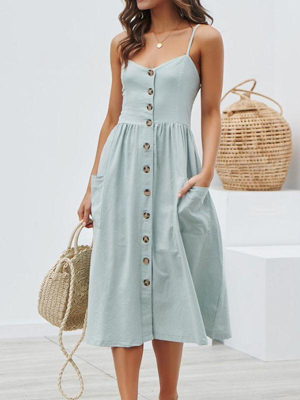 wiccous.com maxi dress Light Blue / S Straps Button Cottage Hill Dress With Pocket