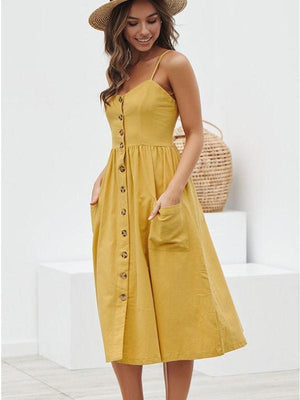 wiccous.com maxi dress Yellow / S Straps Button Cottage Hill Dress With Pocket