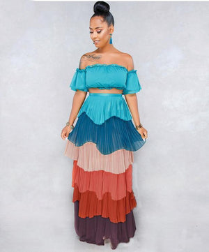 Sexy multi-color chiffon cake skirt two-piece suit