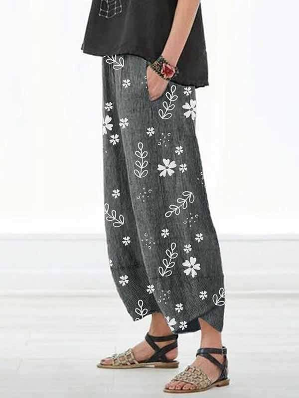 wiccous.com Plus Size Bottoms Dark Gray / S Casual Cotton Linen Small Flower Pants