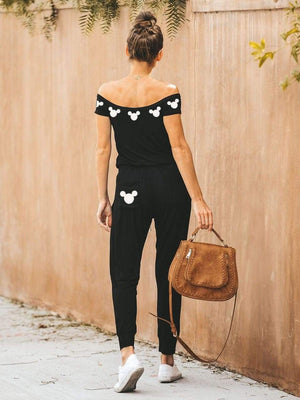Mickey Mouse Printing Off-The-Shoulder Jumpsuit