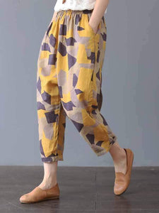 wiccous.com Plus Size Bottoms yellow  geometry / L Plus size printed casual pants