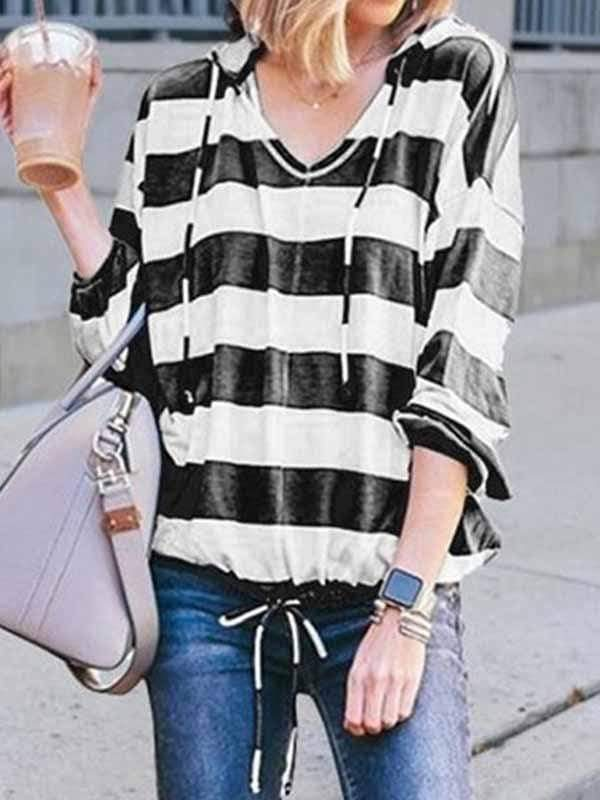 wiccous.com Plus Size Tops Black / S Loose V-Neck Long Sleeve Striped Hooded Top