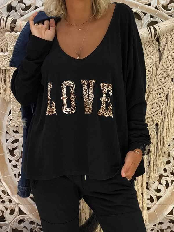 wiccous.com T-Shirts,Plus Size Tops Black / S Women's LOVE Print Long Sleeve Tops