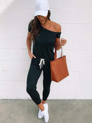 wiccous.com Jumpsuits Black / S Cold Shoulder Jumpisuit With Pocketed
