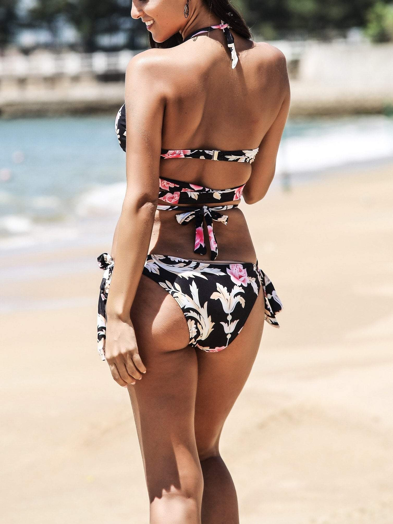 Floral Print Lace Up Bikini Set