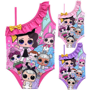 LOL Surprise! Cute Dolls Print Off-shoulder Swimwear