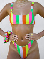 wiccous.com bikini Multi-color Stripe / S Colorful striped bikini